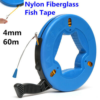 60m Cable Fiberglass Fish Tape Reel Puller Nylon Metal Wall Wire Conduit Ducting