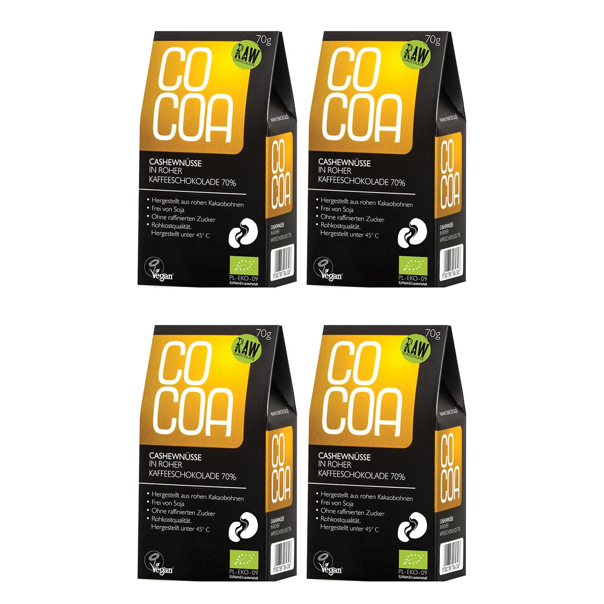 Raw Cocoa Bio Schokonüsse Cashewnüsse in roher Kaffeeschokolade 70 %, 4 x 70 g