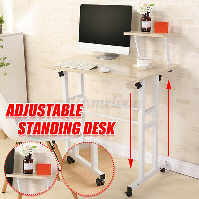 Sit Stand Computer Desk Adjustable Height Laptop Table Office W Wheel Shelf