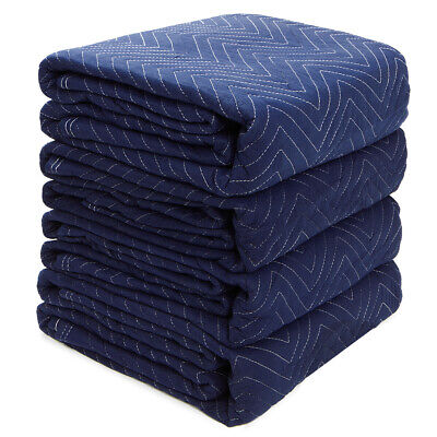 Photo Set of (4) Heavy Duty Moving Blankets 20lb Furniture Shipping Moving Pads Mats