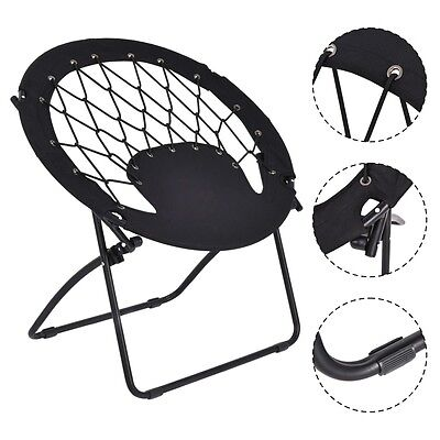 New Folding Round Bungee Chair Steel Frame Outdoor Camping Hiking Garden Patio