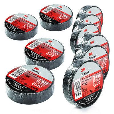 3m Black Electrical Tape Temflex 1700 34 X 60 Ft 10 Rolls Free Shipping