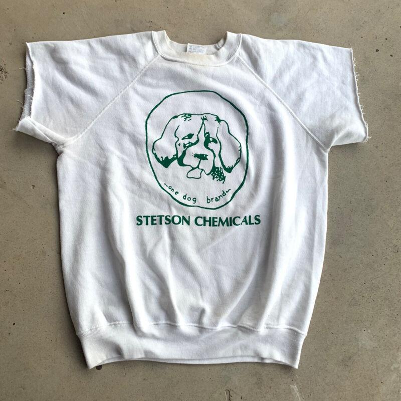 Vintage 80's Stetson Chemicals Dog Short Sleeve Sweatshirt White Med/Large