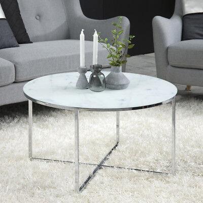 Couchtisch Alisma Beistelltisch in Glas weiß und Marmoroptik Gestell Chrom Tisch