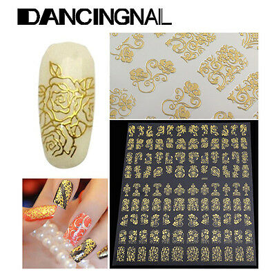 108pcs 3D Flower Design Nail Art Manicure Tips Stickers Decals DIY Decoration US