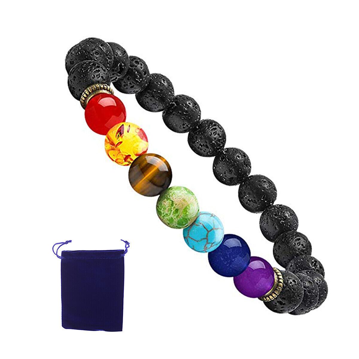7 Chakras Men Anxiety Bracelets 8mm Lava Rock Stone Oil Bracelet For Men Women
