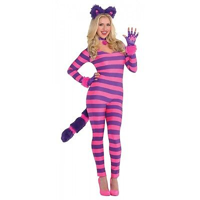 Cheshire Cat Costume Adult Alice in Wonderland Halloween Fancy Dress (Cat In Halloween)