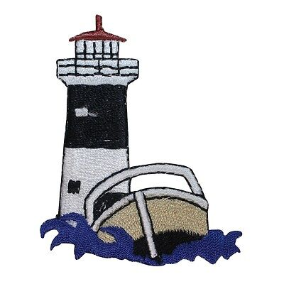 ID 1840Z Lighthouse & Speed Boat Nautical Embroidered Iron On Applique Patch for sale  Shipping to South Africa