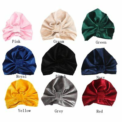 Newborn Toddler Kids Baby Boy Girl Bow Knot Turban Cotton Velvet Beanie Hat Cap