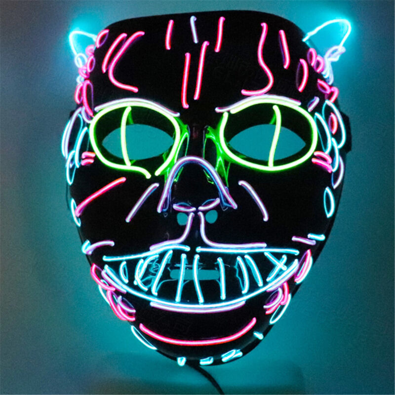 Cat EL Wire Glowing Ears Halloween Mask Trippy Cosplay LED Rave Costume