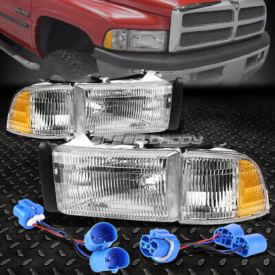 CHROME HOUSING CLEAR HEADLIGHT ASSEMBLY+CORNER LIGHT FOR 94-02 DODGE RAM/SPORT Chrome Clear Headlight Assembly