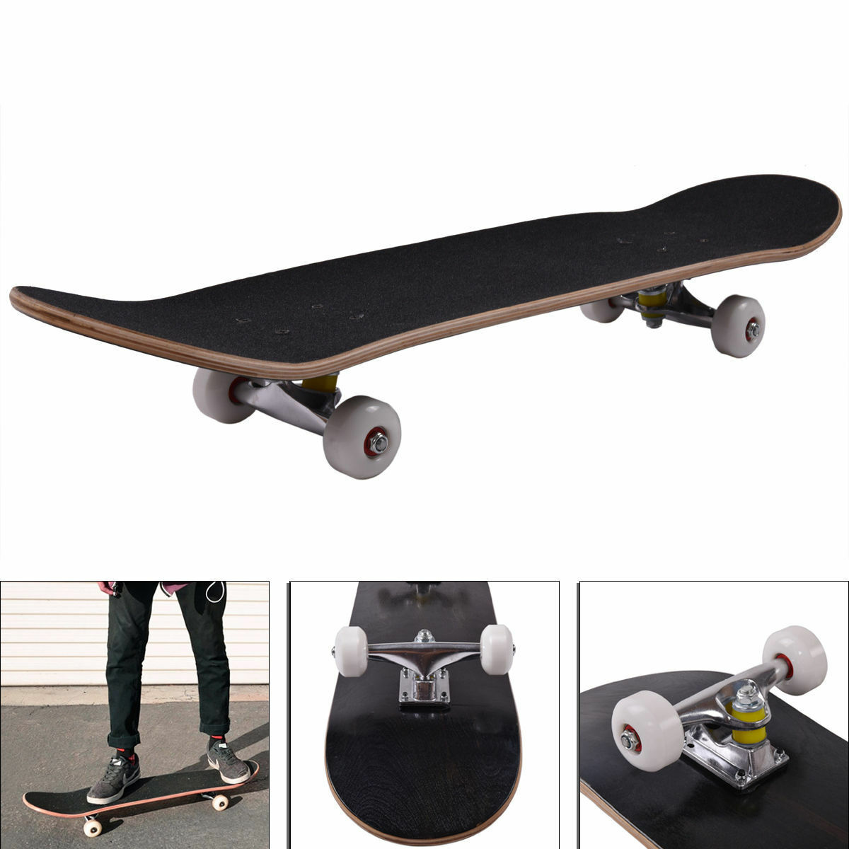Blank Complete Skateboard Stained BLACK 7 75\ Skateboards, Ready to ride New