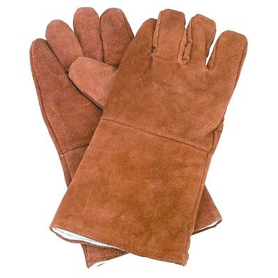 14 Premium Brown Leather Cowhide Welding Gloves Protect Hands Tool Welder