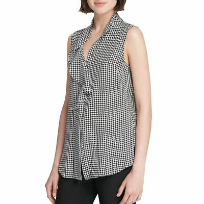 DKNY NEW Women's Black/white Ruffled Houndstooth-print Blouse Shirt Top XL TEDO Houndstooth Print Blouse