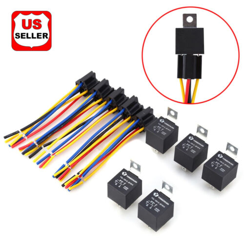 5 Pack 12V 30/40 Amp 5-Pin SPDT Automotive Relay with Wires & Harness Socket Set Business & Industrial