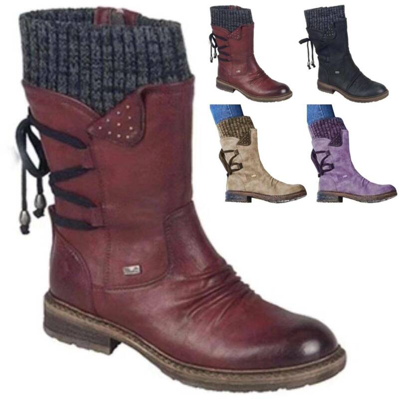 Womens Fleece Ankle Lace Ladies Warm Casual Toe Shoes Size