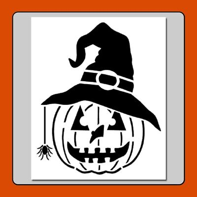 Pumpkin w Witch Hat/Spider STENCIL Jack o Lantern/Halloween/Fall In 2 Sizes!! - Pumpkin Spiders