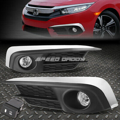 FOR 2016 HONDA CIVIC FC1 CLEAR LENS OE DRIVING PAIR FOG LIGHT LAMP+COVER+SWITCH