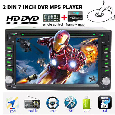 2 Din HD Car Stereo DVD Player GPS Navigation Bluetooth Auto Radio iPod+Camera