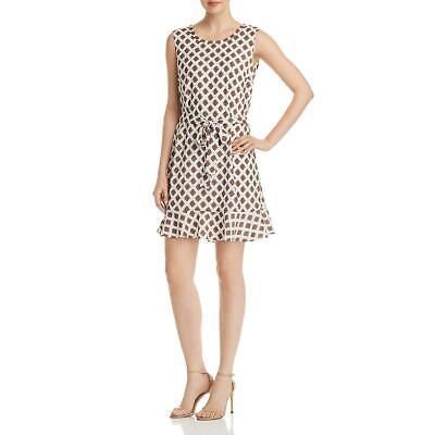 Le Gali Susannah Satin Printed Belted Sleeveless Mini Flounce Dress