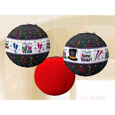 3 Happy New Year Party Jewel Tones Hanging Decoration Lanterns