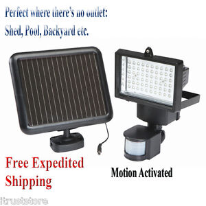 solar powered security light led motion activated detector