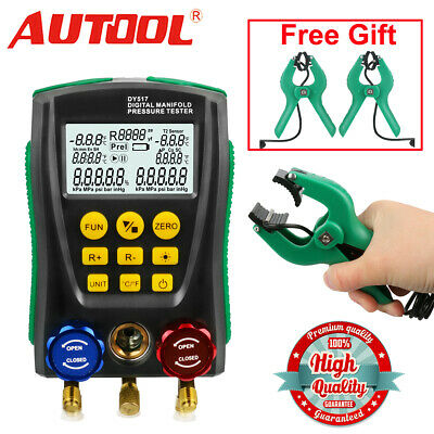 Manifold Digital Gauge Refrigeration Hvac Meter Vacuum Probes Temperature Clamp