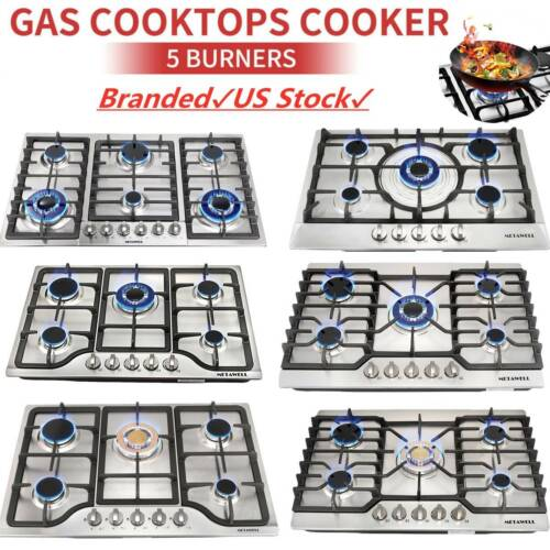 """Silver 23"""" 30"""" 34"""" 3/4/5/6 Burners Built-In Stove NG/LPG Gas"""