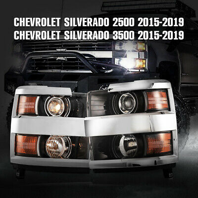 HEADLIGHTS For 19 CHEVROLET SILVERADO 2500 3500 Aftermarket Chrome trim H11 Pair