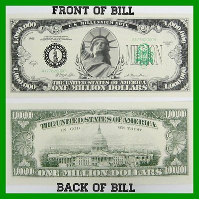 (25) ONE MILLION Dollar Bills - VERY REAL looking fake play collectible money