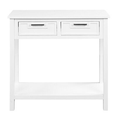Accent Console Table Entryway Sofa Foyer Modern Shelf W/2 Drawers White Home