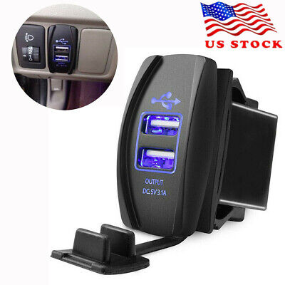 Waterproof Blue LED Car 5V 3.1A Dual USB Phone Charger Indicator Power Supply 1X