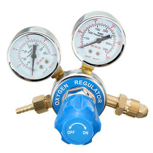 Argon Regulator / Flow Meter Stainless Steel Oxygen Pressure Reducer 2 Gauge NEW