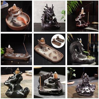 (Handmade Backflow Ceramic Double Dragon Glaze Incense Smoke Cone Burner Holder)