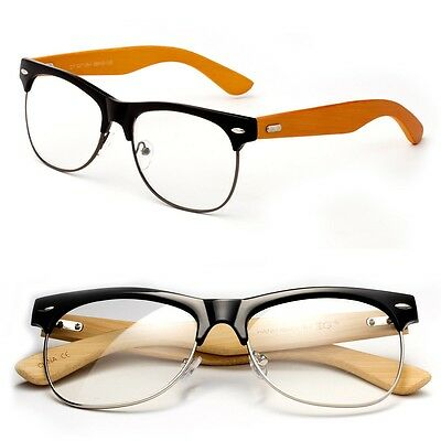 Bamboo Clear Lens Glasses Half Frame Vintage Non Prescription for Men Women (Half Lens Glasses)