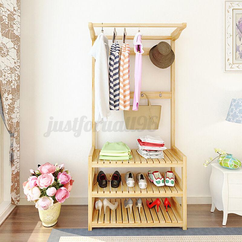 Garment Hanger Shoe Rack Clothes Storage Stand Coat Bag Hat Wooden Shelf Holder
