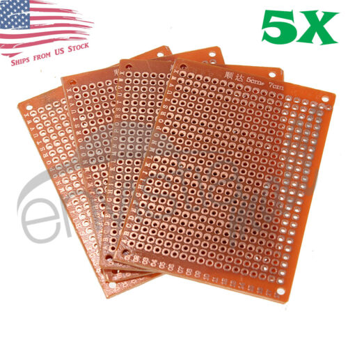 5pcs 5cm x 7cm (2x3in) PCB Prototyping Perf Boards Breadboards DIY US
