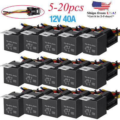 Lots 12v 3040 Amp 5-pin Spdt Automotive Relay With Wires Harness Socket Set