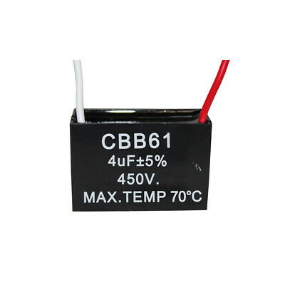 450V 4UF CBB61 Ceiling Fan Motor Running Capacitor 2 Wire 50/60 Hz