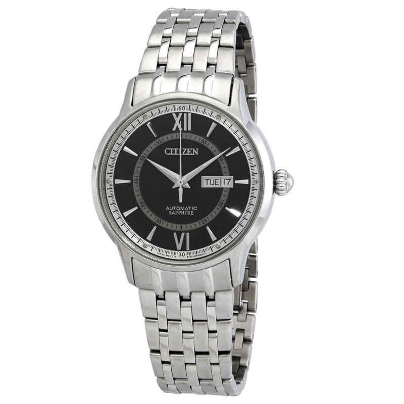 Citizen-Automatic-Sapphire-Day-Date-Black-Dial-Stainless-Steel-Men-Watch