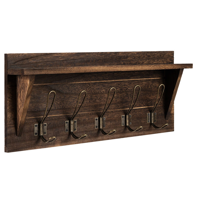Rustic Wooden Wall-Mounted Coat Rack Entryway Hanging Shelf w/5 Dual Hooks Brown