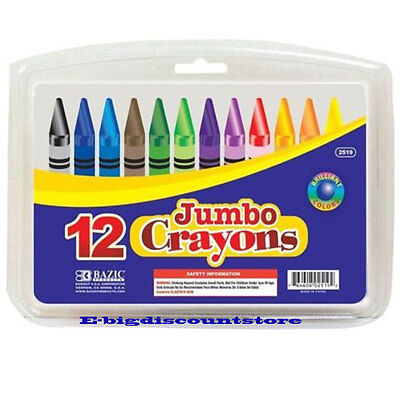 Premium Quality Jumbo Crayon - BAZIC 12 Color Premium Quality Jumbo Crayon