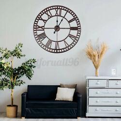 Outdoor Garden Iron Wall Clock Antique Big Roman Numeral Round Giant Open Face