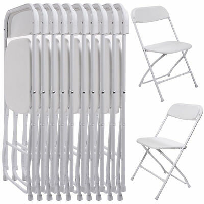 Set Of 10 Pack Commercial Wedding Quality Stackable Plastic Folding Chairs White