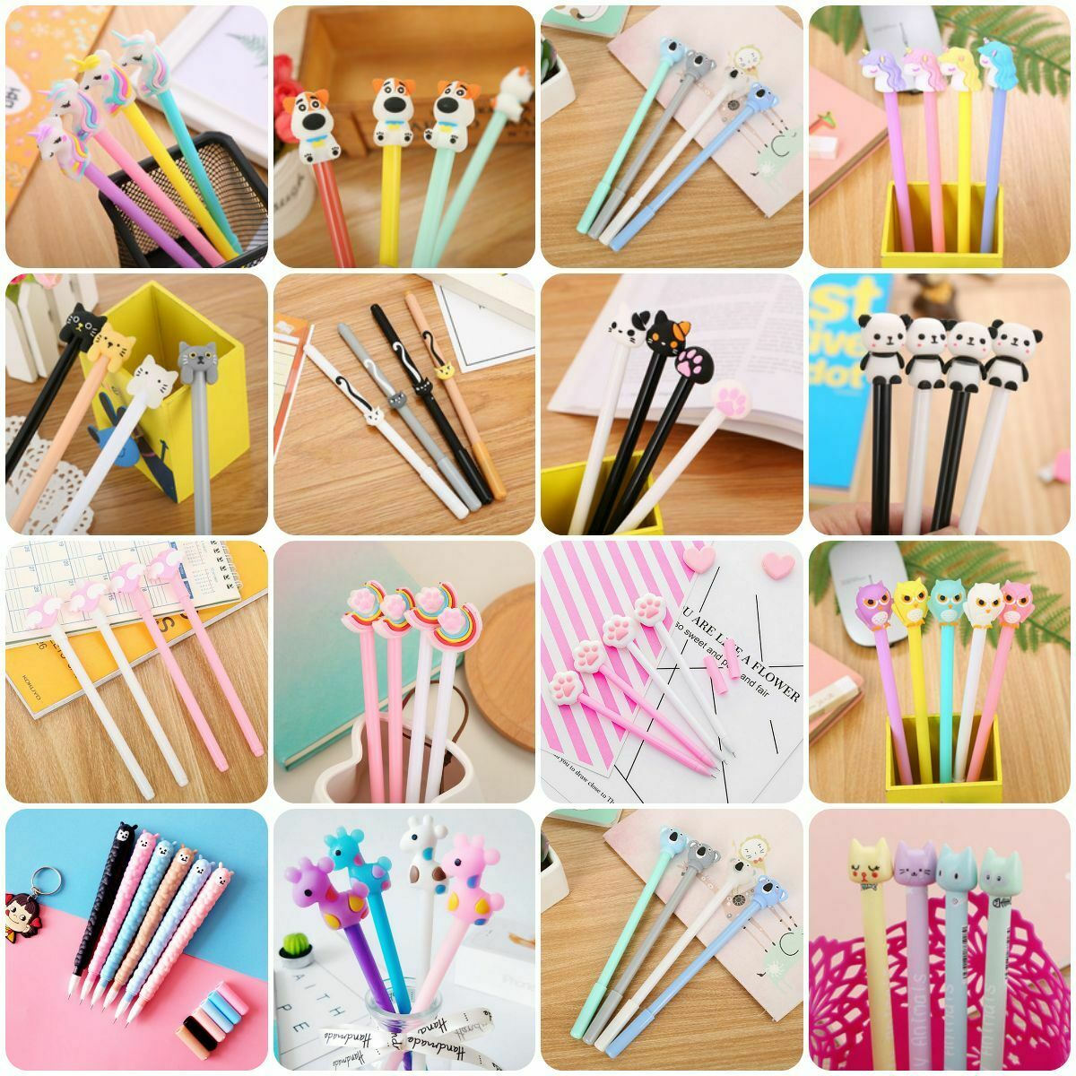 6Pcs Cute Style Gel Pen Ballpoint Stationery Writing Sign Child School Office