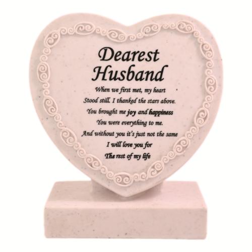 Dearest Husband Heart Shaped Memorial Grave Plaque Cremation Marker