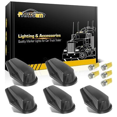 5x Cab Roof Running Black Lights+5050 Yellow T10 LEDs For Ford F-150 F-250 73-97