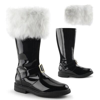 Costume Boots For Men (Mens Black Patent Mall Santa Claus Christmas Costume Boots Fur Trim Cuff 9 10)