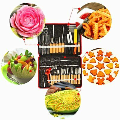 80pcs Professional Food Fruit Engraver Carving Tool Kit Set Carve Knife Kitchen