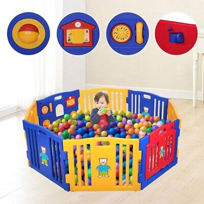 Baby Playpen Kids 8 Panel Safety Play Center Yard Home Indoor Outdoor Pen Fence